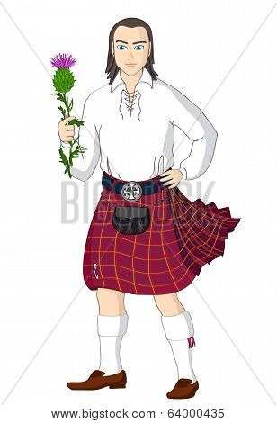 Scotsman with national flower of Scotland. Vector