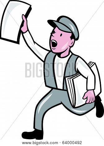 Newsboy Selling Newspaper Isolated Cartoon