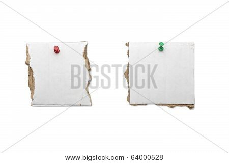 Two Pieces Of Card Board With Straight Pins, Isolated On White