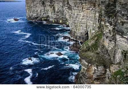 High Cliff On Orkney (marwick Head)  Islands, Nesting Site Of Seabird