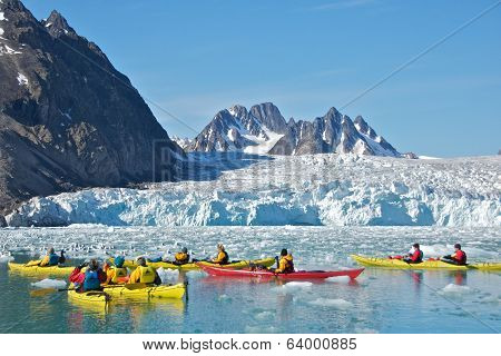 Svalbard, Norway - July 2013: Kayaking Close to Monaco Glacier in Svalbard