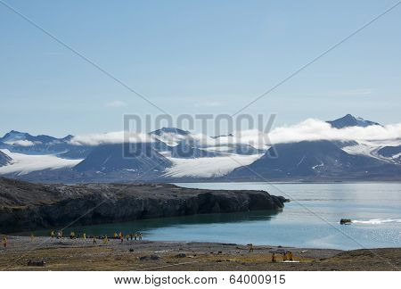 Svalbard, Norway - July 2013: View of Glaciers in New London, Svalbard