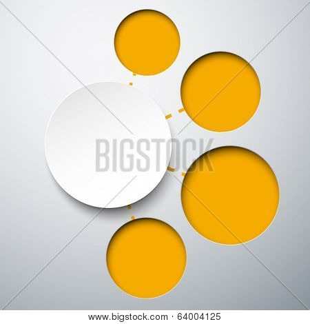 Abstract infographics composed of round paper stickers. Vector illustration.