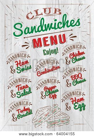 Sandwiches menu wood