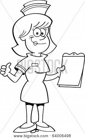 Cartoon nurse with a clipboard