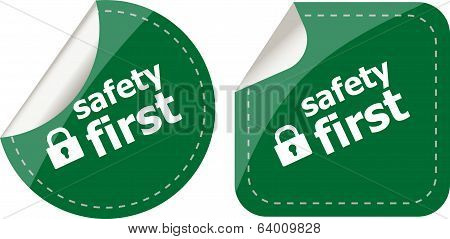 Secure Lock Sign Label Isolated On White, Safety First