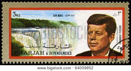 Vintage John F Kennedy Postage Stamp From Sharjah