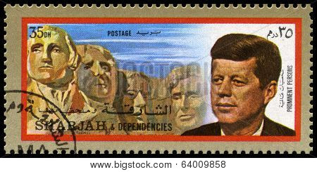 Vintage John F Kennedy Postage Stamp From Sharjah
