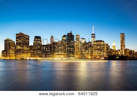 New York City Manhattan skyline at dusk from Brooklyn