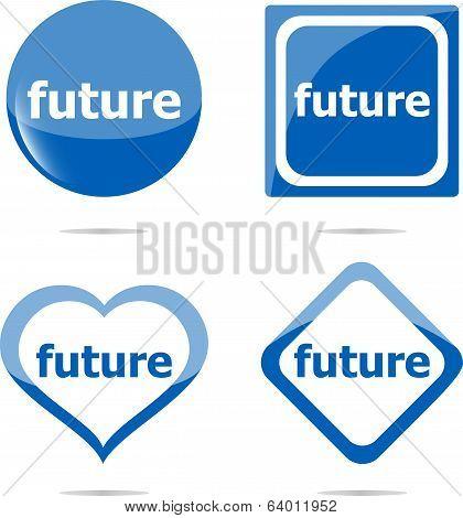Future Stickers Set Isolated On White, Icon Button