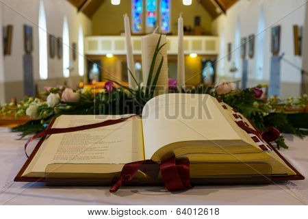 Open Bible In Church. Close Up