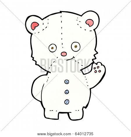 cartooon waving polar bear cub