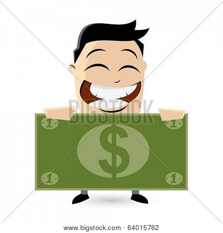 funny businessman with big dollar bill