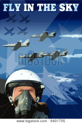 Banner of pilot and plane