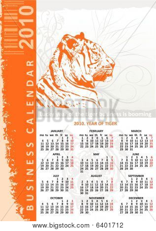 Creative tiger business calendar 2010