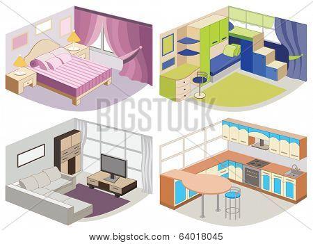 set of modern interiors (vector illustration)