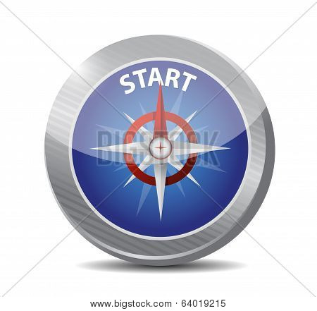 Guide Compass To The Start. Illustration Design