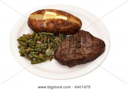 Steak, Baked Potato, And Green Beans