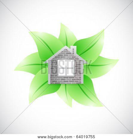 Leaves And Home Illustration Design