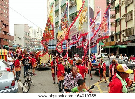Religious Procession With Flags And Drums