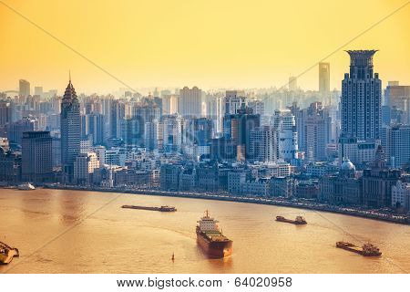 Modern City At Dusk In Shanghai