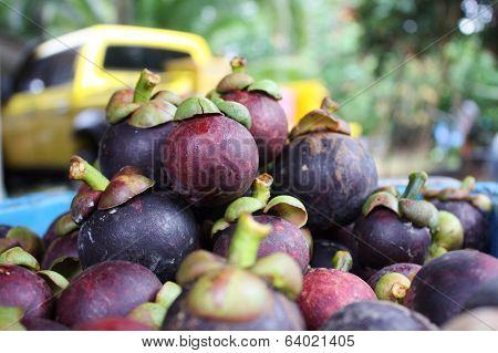 Group Of Mangosteen In Basket