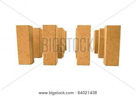standing jenga pieces on white background