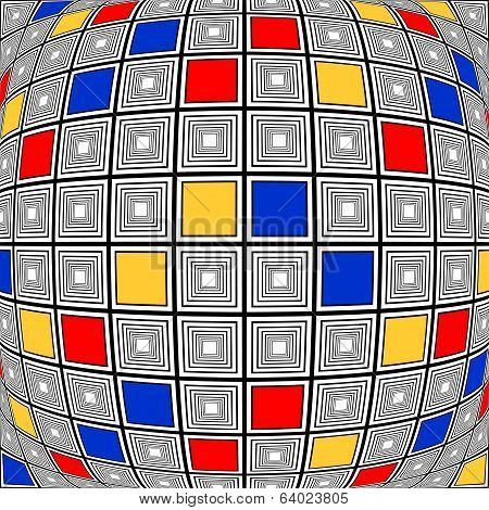 Design Colorful Warped Checked Mosaic Pattern