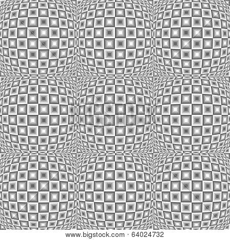 Design Seamless Monochrome Warped Checked Pattern
