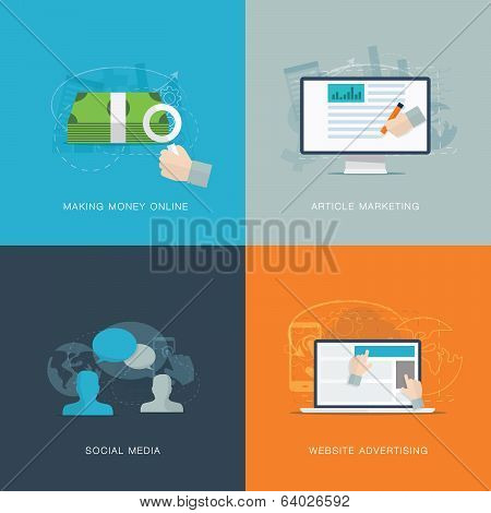 Flat web advertisiment and social media development vector concepts