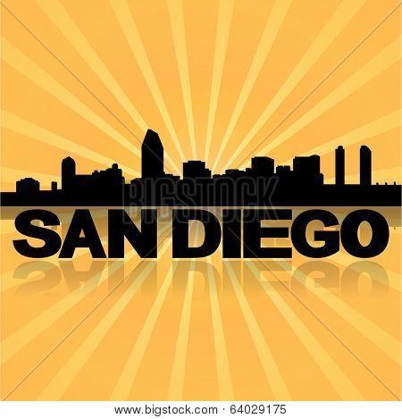 San Diego skyline reflected with sunburst vector illustration