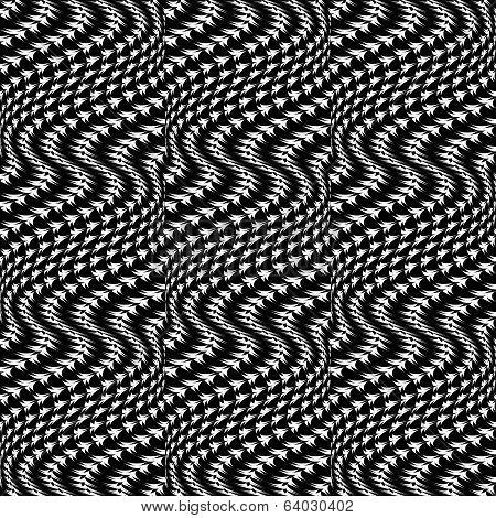 Design Seamless Monochrome Movement Illusion Trellis Pattern