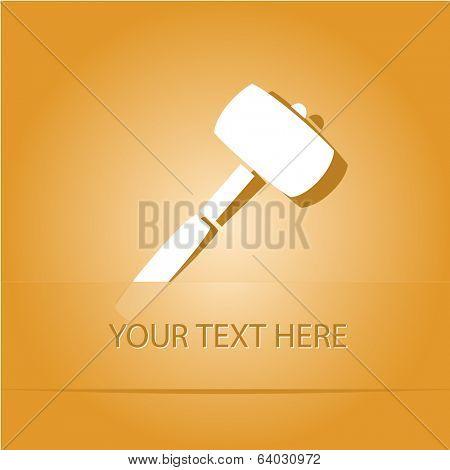 Mallet. Paper sticker as bookmark. Vector illustration. Eps10.