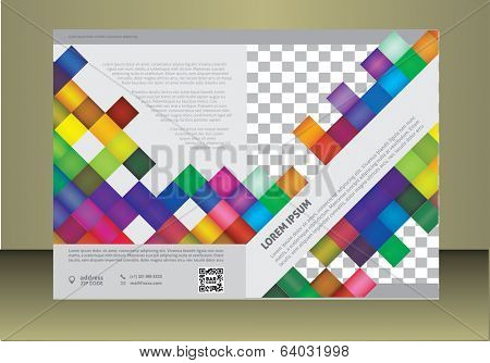 Vector  business brochure or magazine cover  template.  image placeholder