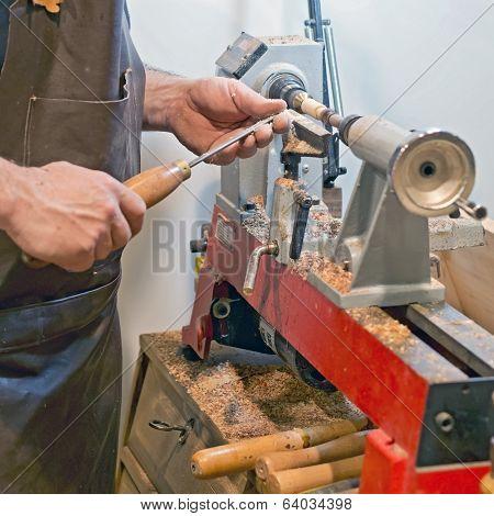 Craftsman At Work  Latheing Wood