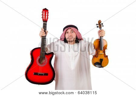Arab musician with violin and guitar isolated on white