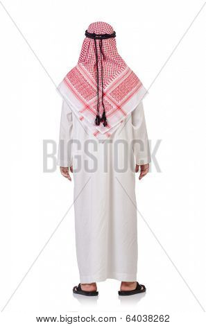 Praying arab man isolated on white