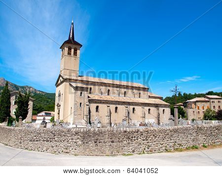 Old Church With A Cemetery In Jaujac, Ardeche, France