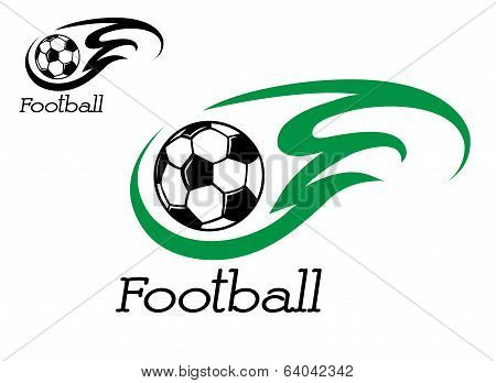Soccer ball with green flame