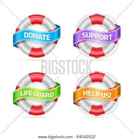 Ribbon banner messages on life buoy. Symbol set. Detailed vector illustration.