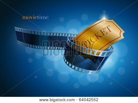 Camera film strip and gold ticket on blue defocus background. Vector illustration.