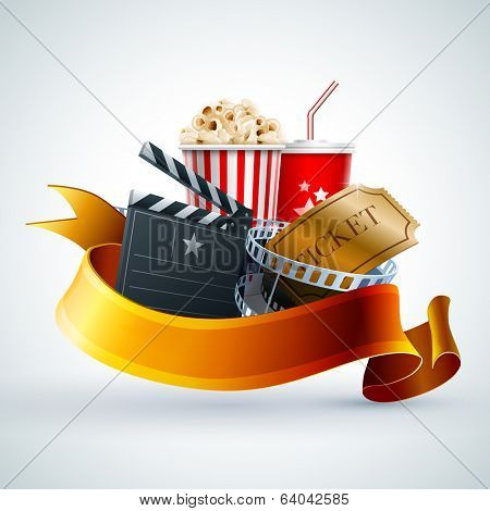 Popcorn box, disposable cup for beverages with straw, film strip, ticket and clapper board. Detailed vector illustration. EPS10 file.