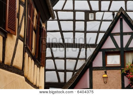 Detailed View Of Traditional Half-timbered Architecture In Alsace, France