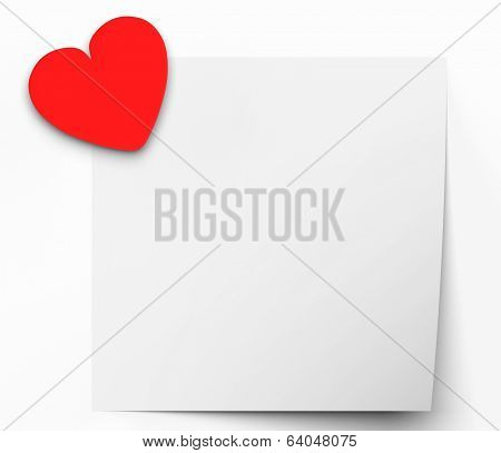 Heart On Note Means Lovely Message Or Love Letter