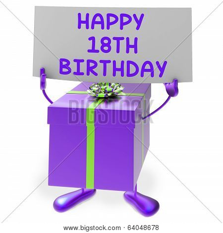Happy 18Th Birthday Sign And Gift Show Eighteenth Party