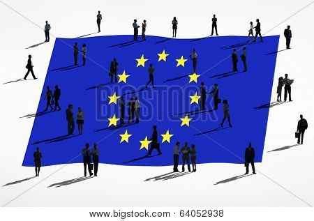 European union and a group of business people.