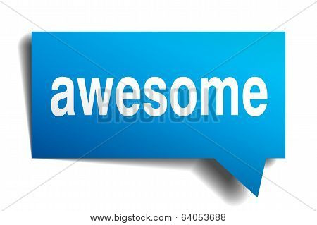 Awesome Blue 3D Realistic Paper Speech Bubble Isolated On White