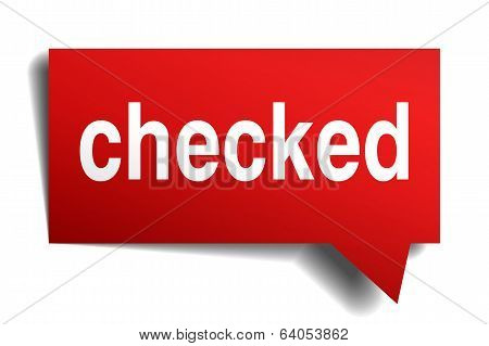 Checked Red 3D Realistic Paper Speech Bubble Isolated On White