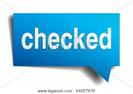 Checked Blue 3D Realistic Paper Speech Bubble Isolated On White