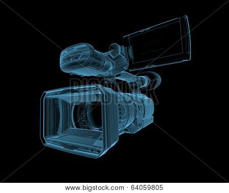 Video camera x-ray blue transparent isolated on black